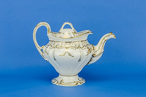 Antique Large Scrolls Porcelain White TEAPOT Neo-classical Opulent Gift English 1830s LS