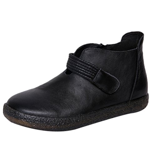 Minibee Women's Leather Flat Velcro Soft Ankle Bootie New Shoes Black CH39/US 7.5 by Minibee