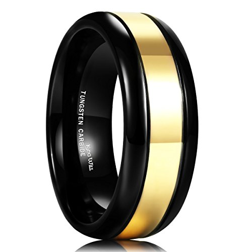 King Will Men's 8mm Tungsten Carbide Ring High Polished 24k Gold Plated Wedding Band