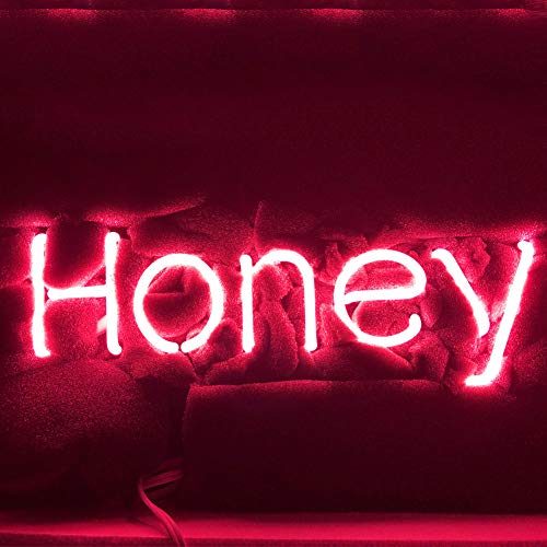 ''Honey '' Real Glass Acrylic Panel Handmade Visual Artwork Home Decor Wall Light Real Glass Neon Light Sign Home Beer Bar Pub Recreation Room Lights Windows Wall Signs14''x5.5