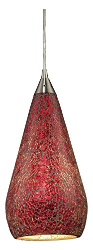 Curvalo 1 Light Pendant in Satin Nickel and Ruby Crackle Glass - Includes Recessed Lighting Kit