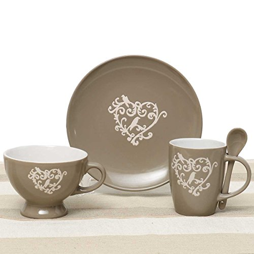 Heart Scroll 4 Piece Place Setting with Plate, Soup Bowl with Handle, Mug and Spoon