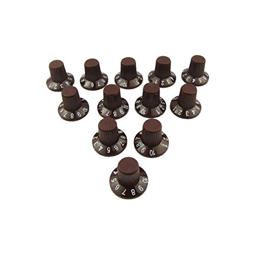 BeesClover Plastic Skirted Style Control Amp Effect Pedal Knobs for Fender Stratocaster Telecaster Guitar Parts (Pack of 12) Brown One Size
