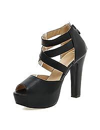 Smilice Women High Block Heel Peep Toe Sandals Cross Strap Zipper Platform Gladiator Shoes Size 1-12.5 US