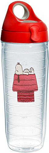 (Tervis 1232565 Peanuts - Snoopy Insulated Tumbler with Emblem and Red with Gray Lid, 24 oz Water Bottle, Clear)