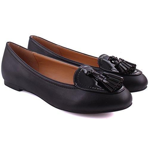 Unze Frauen Hilda Genäht Stil Vielseitig Dress Casual Quaste akzentuierte Loafer UK Größe 3-8 - GP20113-5 Schwarz