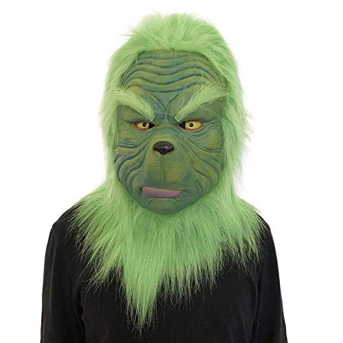 Gotian Christmas Cosplay Grinch Mask Melting Face Latex Costume Collectible Prop Scary Mask Toy Game Dolls Gift