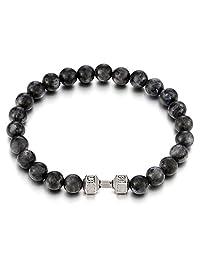 Mens Boys 9MM Energy Stone Beads Gemstone Bracelet with Barbell Dumbbell, Prayer Mala