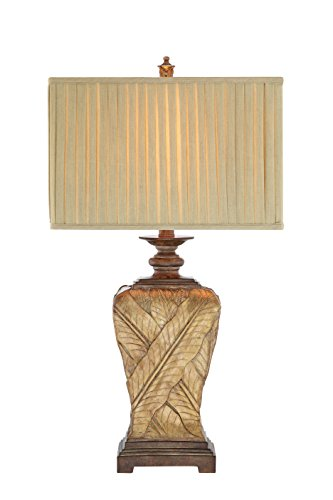 (Catalina Lighting 19083-001 Traditional 3-Way Wrapped Leaf Table Lamp and Rectangular Pleated Fabric Shade, LED bulb Included,)