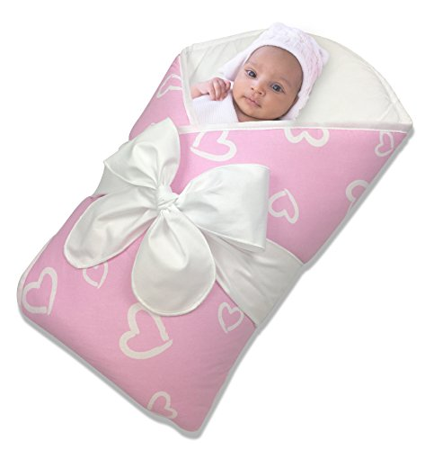 Bundlebee Baby Wrap/Swaddle/Blanket - Built-in Organic Infant Pad - Perfect for Bassinet and Easy Crib Transition - Gift Packaging - Newborns - Summer/Winter - Pink ()