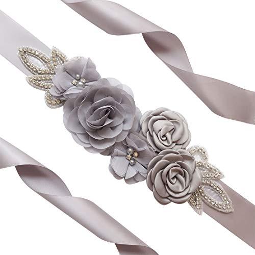 Spmor Women's Bridal Wedding Dress Rhinestone Sash Maternity Sash Belt Flower Baby Girl Sash Belt,Grey