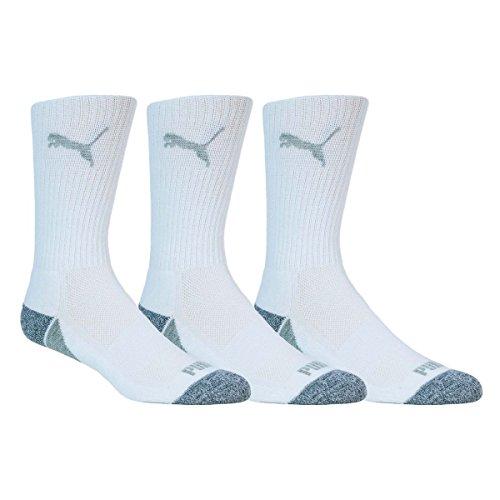 PUMA Golf 2017 Men's Pounce Crew Socks (3 Pair, White, Size 9-12)