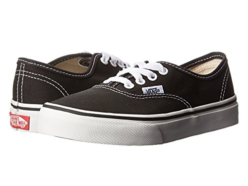 Vans Kids Authentic Elastic (Elastic Lace) Skate Shoe Black/True White 2.5]()