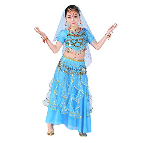 Girls Halloween Costume Set - Kids Belly Dance Halter Top Dresses with Jewelry Accessory for Dress Up -