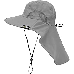 Sun Blocker Outdoor Sun Protection Fishing Cap with Neck Flap, Wide Brim Safari Cap with Adjustable Drawstring, Grey One Size