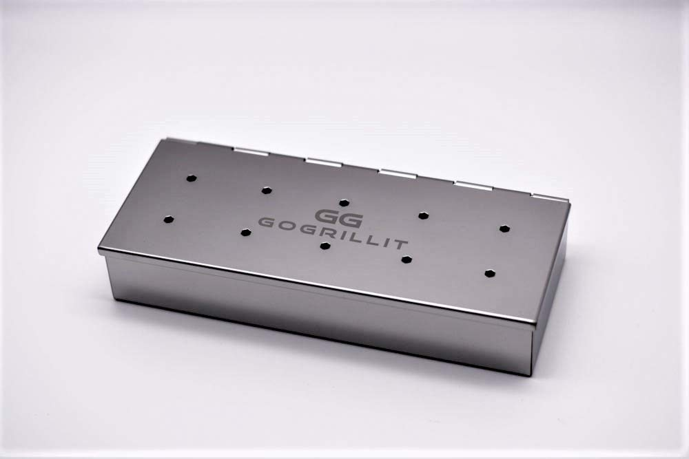 premium stainless steel smoker box with hinge the perfect barbecue accessory for smoking GOGRILLIT smoker box//smoker tray suitable for any charcoal and gas barbecue