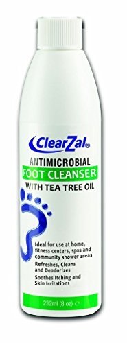 ClearZal Antimicrobial Foot Cleanser Liquid Soap with Tea Tree Oil, Soothes itch and Skin irritations. Cleans and refreshes foot. 8-Ounce Bottle
