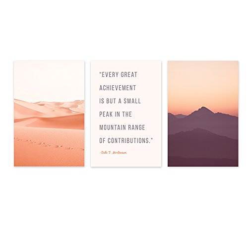 3 Panel Pink Desert and Sunset and Inspirational Quotes x 3 Panels