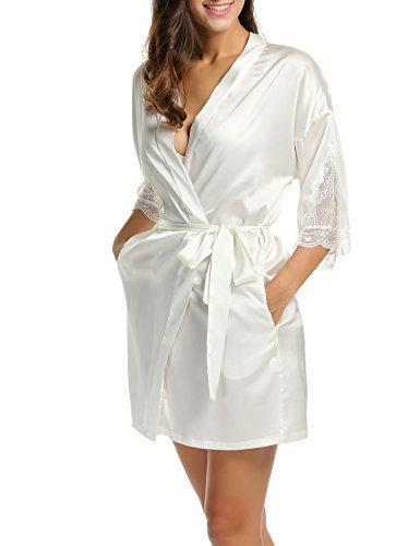 Robe Robe de Nuit Kimono de Pyjama Blanc Ceinture Nuit en Femme Vtement Chambre Satin de BeautyUU xE4HnqwPYc