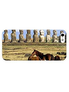 3d Full Wrap Case for iPhone 5/5s Animal Horses Next To Moai Statues