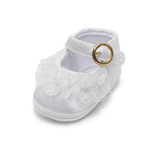 Delebao Baby Girl Infant Buckle Christening Satin Baptism Shoes Bootie Slippers (0-6 Months, -