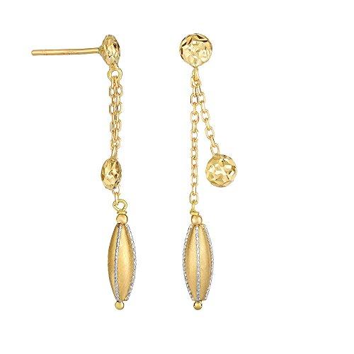 14carats Or jaune + Blanc brillant + Diamant Fancy Dou BLE Stranded câble Chaîne pendantes Boucles d'oreilles