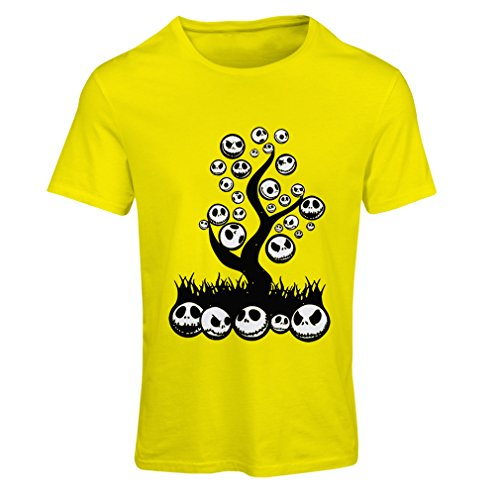 lepni.me T Shirts for Women The Nightmare Tree - Halloween Party Outfit (XX-Large Yellow Multi Color) ()
