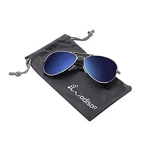 WODISON Classic Kids Aviator Sunglasses Reflective Metal Frame Children Eyeglass Pink Frame Red Lens