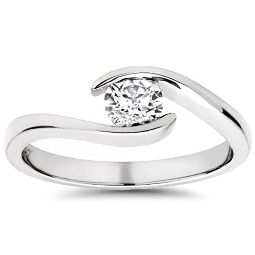 1/3ct Round Diamond Solitaire Modern Engagement Ring 14K White Gold - Size 6
