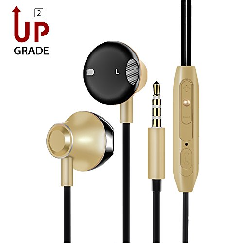 Headphones,AoLiPlus Runner Headsets 3.5mm Metal Housing Sport Earphones with Mic & Sweatproof - Wired Bass Stereo Earbuds with Apple iOS and Android Compatible Microphone(Gold)
