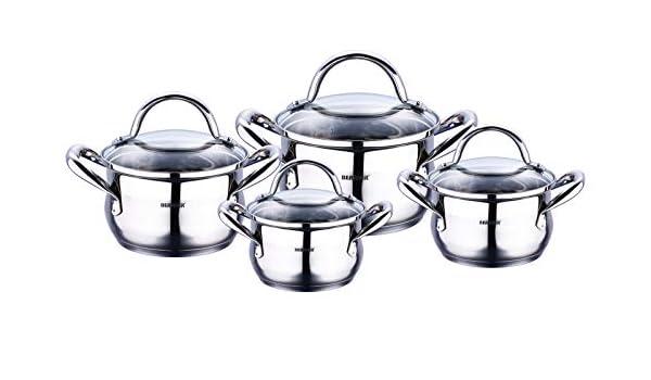 Juego de cocina de acero inoxidable (8 piezas - Cazuelas ...