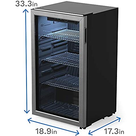 hOmeLabs Beverage Refrigerator and Cooler – 120 Can Mini Fridge with Glass Door for Soda Beer or Wine – Small Drink Dispenser Machine for Office or Bar with Adjustable Removable Shelves