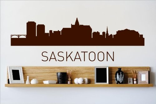 Top Selling Decals - Prices Reduced : Saskatoon Skyline City View Beautiful Scene Landmarks, Buildings & Water Bedroom Bathroom Living Room Picture Art Mural Size : 6 Inches X 24 - Glasses Saskatoon