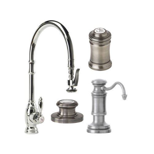 Waterstone 5500-4-SN Annapolis Kitchen Faucet Single Handle with Pull Out Spray, Soap/Lotion Dispenser, Air Gap and Air Switch, Satin Nickel