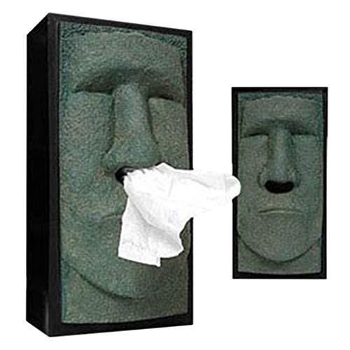 (Inverlee New Retro Easter Island Head Facial Tissue Holder Dispenser Nose Tissue Box Cover (Black))