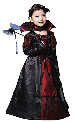 Sweet Costume Halloween Child Girl Vampire Lady Comtesse Cosplay Costume Vintage Dress (Elegant Witch Choker)