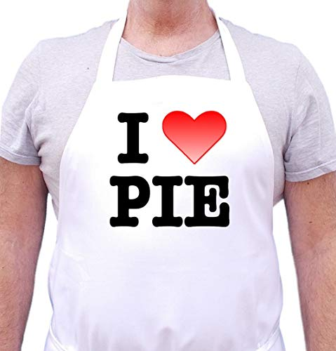 I Love Pie Cute Funny Chef Apron For Baking, White, One Size Fits Most