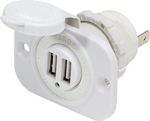 Blue Sea Systems 12V DC Dual USB Charger Socket, White
