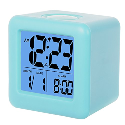 SkyNature Silicon Cube Led Alarm Clock Large Display with Nightlight and Snooze Ice Blue