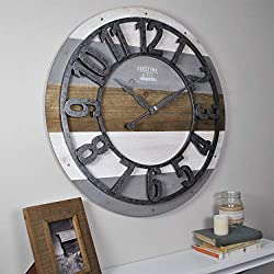 FirsTime & Co. 31061 Shabby Planks Wall Clock, 27, Rustic Gray