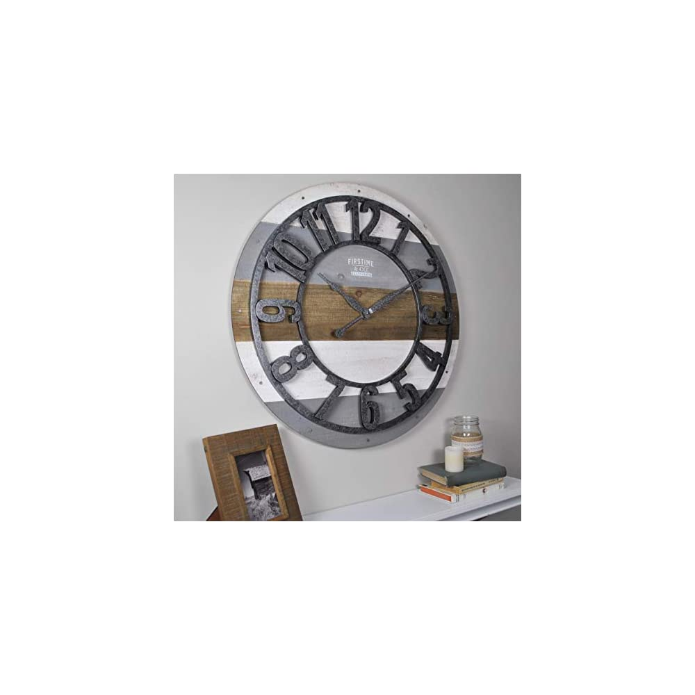 """FirsTime & Co. Shabby Planks Wall Clock, 27"""", Rustic Gray"""