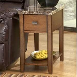 Contemporary Chair Side End Table with Faux Marble Top