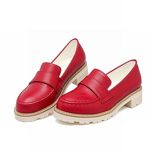 Charme Voet Dames Comfort Lage Hak Casual Loafer Schoenen Rood