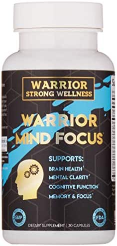 Warrior Mind Focus-Brain Health Capsules with Nootropic Focus Formula for Mental Clarity, Memory, Cognitive Function – 30 Capsules by Warrior Strong Wellness