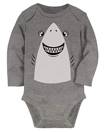 Tstars - Great White Shark Easy Halloween Costume Cute Baby Long Sleeve Bodysuit NB (0-3M) Gray ()