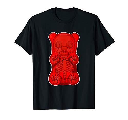 Funny Red GUMMY BEAR Skeleton Anatomy halloween T-SHIRT -