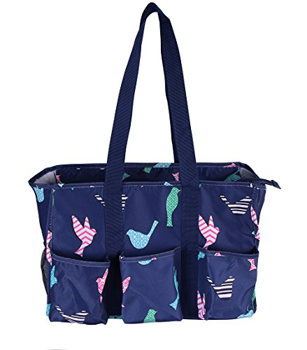 Carryall 7 Pocket Tote Bag With Zipper Closure (Navy Blue Birds) - Fun Beach Bag