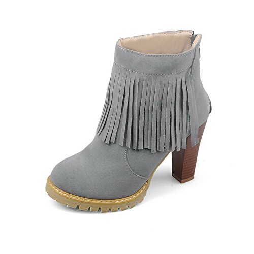 High Gray Solid Boots Heels Top Low Frosted AgooLar Women's Zipper U4wZqA5g