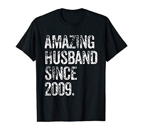 Amazing Husband Since 2009 10 Years Wedding Anniversary T-Shirt
