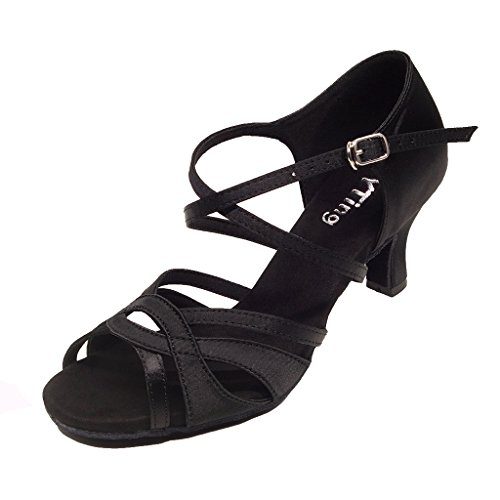 YYTing Women Ballroom Dance Shoes Latin Salsa Bachata Performance Dancing Shoes(7, Black) by YYTing